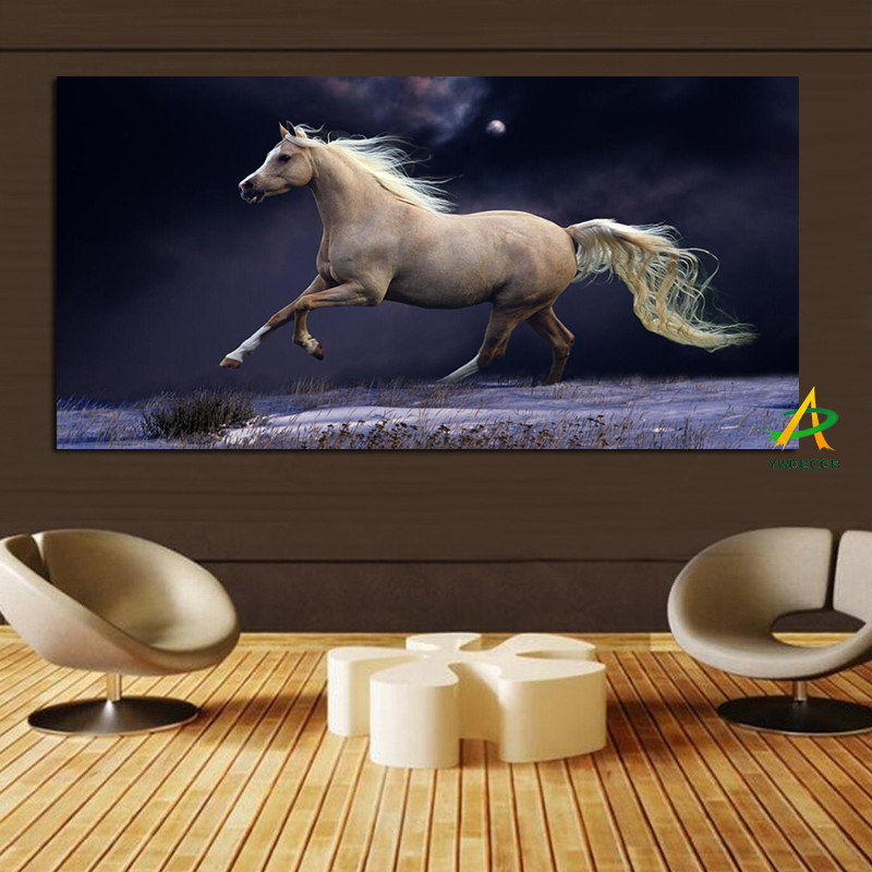 Wholesale Custom canvas Painting Running Horse At Night on Canvas Painting for Living Room