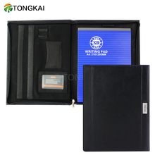 A4 luxury black leather office portfolio folder with notepad