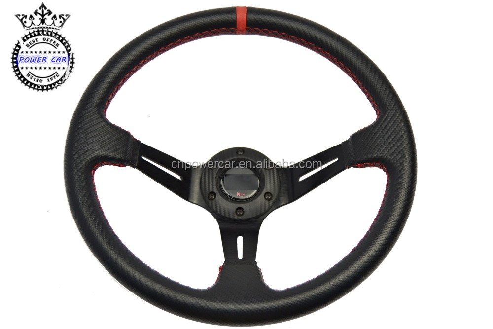 POWER CAR High Quality 14Inch/350MM Racing PVC Steering Wheel Sport Car Steering Wheel