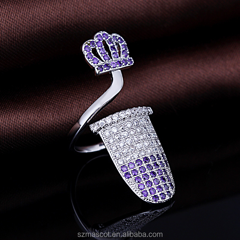 hot sell midi crown model amethyst gemstone bijouterie finger ring