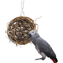 Pet Chewing Toy Parrot Bird Biting Toy Bird Branch Rattan Balls Cages Cockatoo