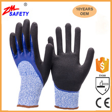 Double Dipped Sandy Nitrile HPPE Shell Cut Resistant Working Gloves