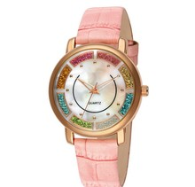 Favorites Compare 2014 new products many colors leather quartz ladies fancy wrist watches with changeable strap