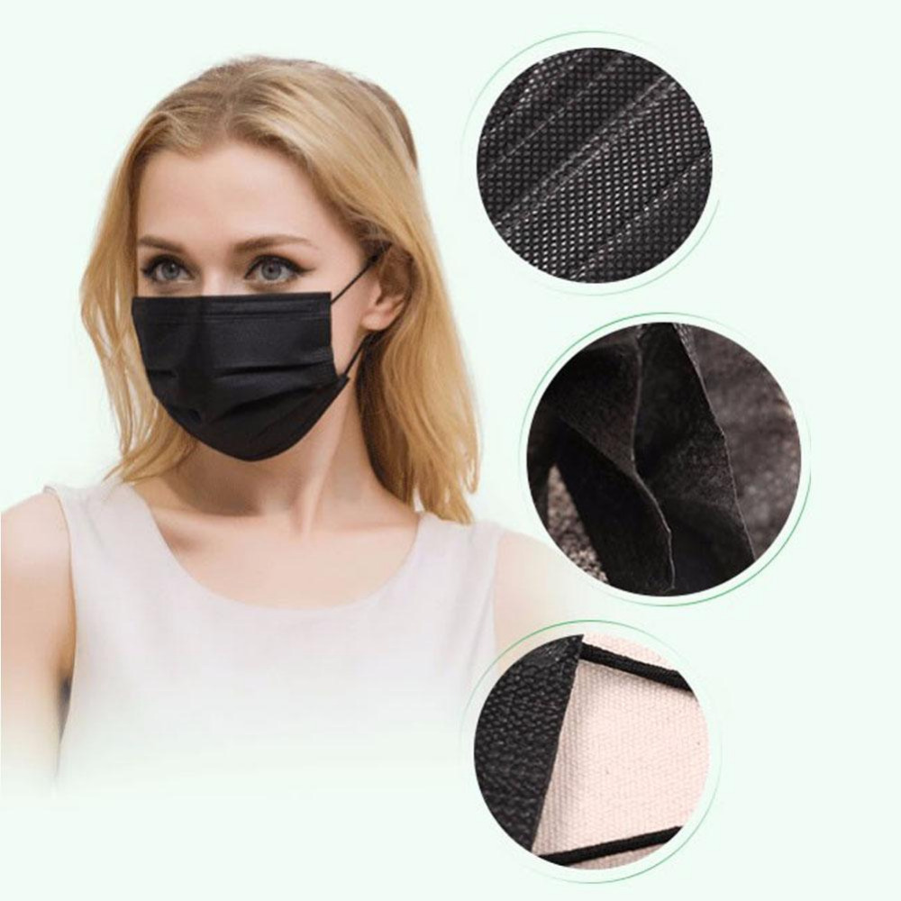 Black/Grey fashion protective with activated carbon filter paper disposable nonwoven 4 ply face mask