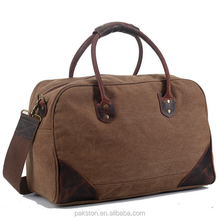 Leather handle vintage canvas travel bag Canvas duffle bag for man