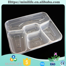 Transparent Plastic Microwave Kitchen Storage Containers, 5 Compartment Food Container with Leakproof Lid
