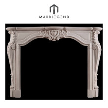 good quality classical french style transitional Louis white marble fireplace mantel