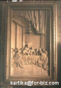 Jesus Last Supper Wood Carving Relief