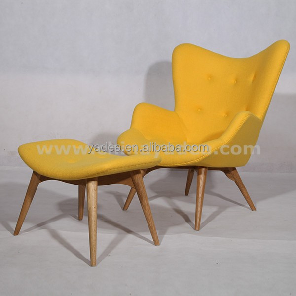 Yellow cashmere grant featherston contour lounge chair with ottoman