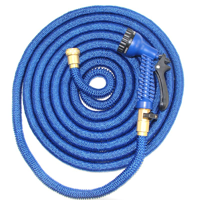 50ft Expandable Garden Hose, Water Hose 3/4&quot; Solid Brass <strong>Connectors</strong> Fittings 9 Pattern Spray <strong>Nozzle</strong>