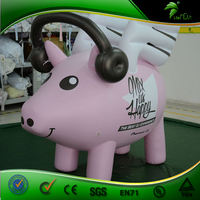 Event Advertising Hanging Inflatable Pink Pig with Earphone , Inflatable Cartoon Flying Pig Model with Wings , Promotion Pig