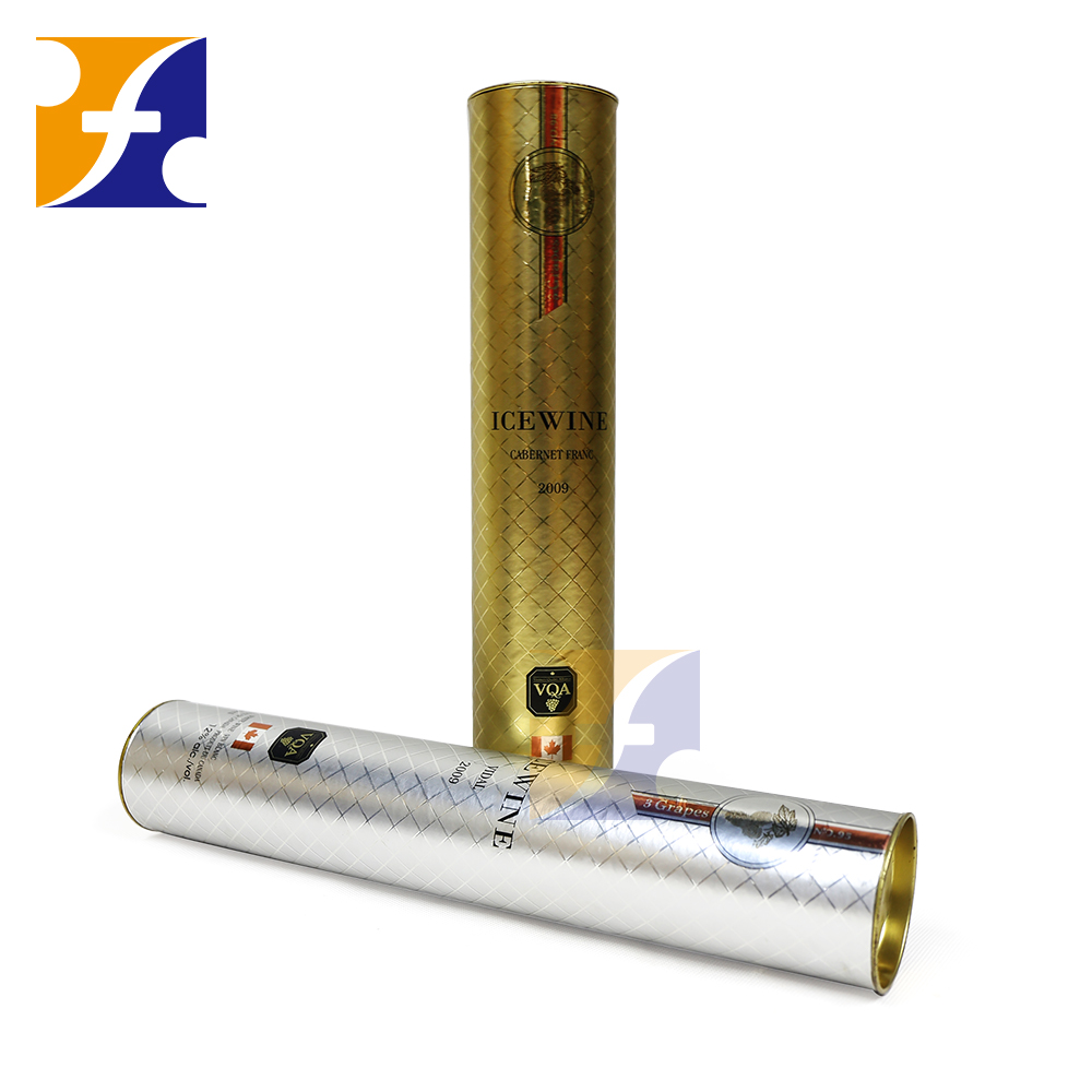 Luxury custom size & printing private label wine cardboard tube /cylinder wine bottle gift box with tinplate lids