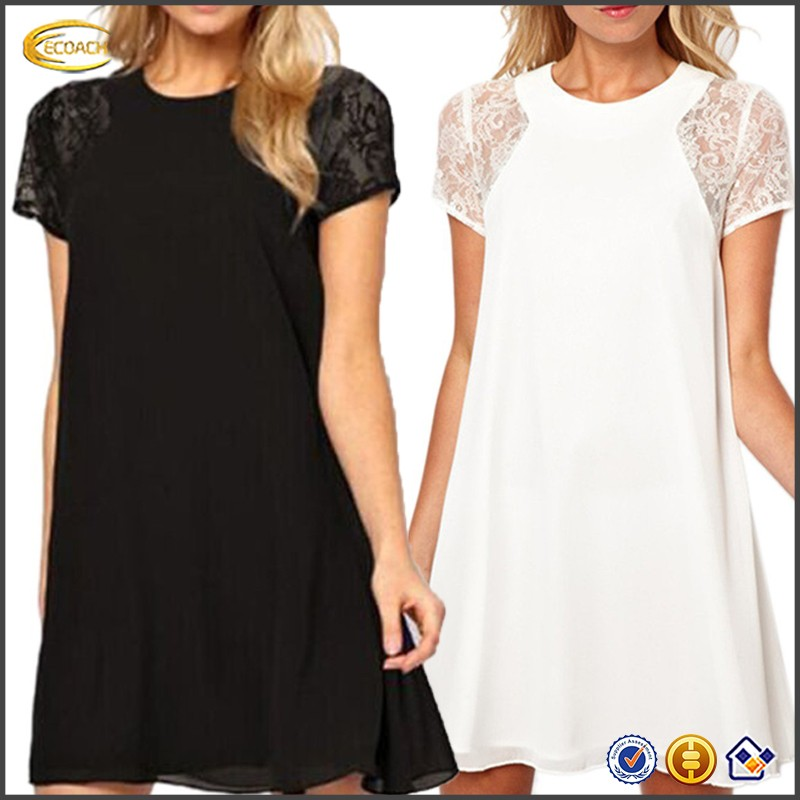 Ecoach Wholesale OEM Womens Casual Summer Special Occasion Lace Chiffon Wedding Dress Short Sleeve Crew Neck Dresses