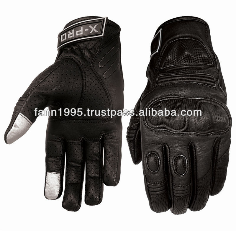 Touch screen compatible advanced leather motorbike gloves