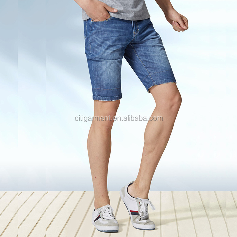 Free Shipping Fashion straight mid-rise ripped casual pants short jeans for men 29-40