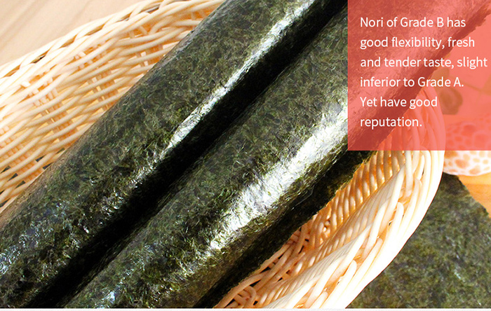 Chinese supplier 50 full sheets green roasted nori seaweed for sale