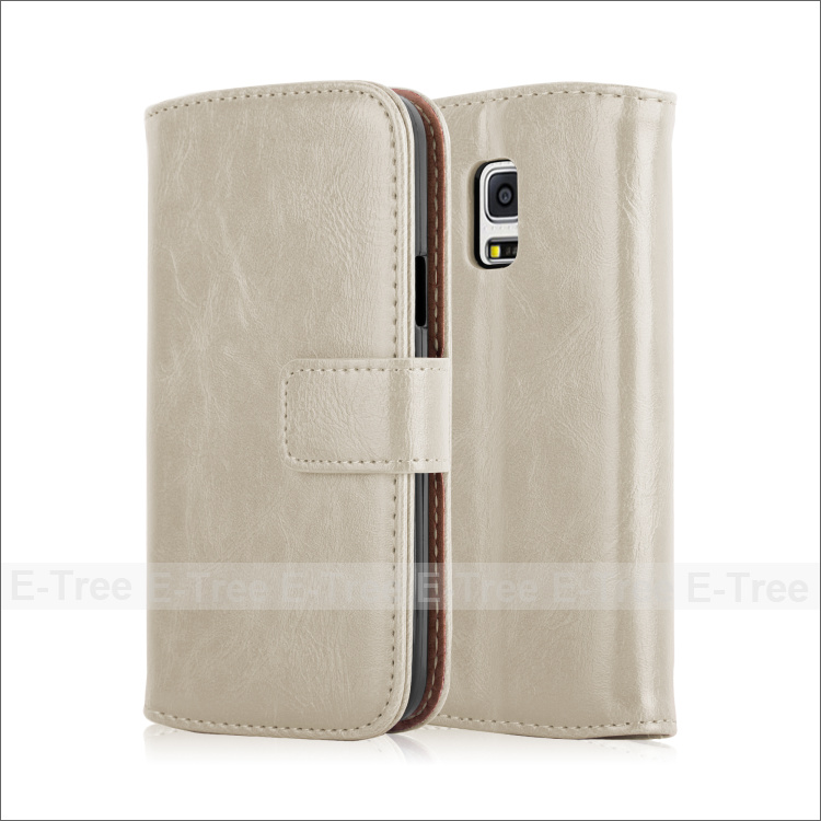 Hot Magnet wallet card slot stand feature filp leather Case for Samsung Galaxy S5 MINI