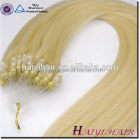 100% Remy wholesale Factory Price Pre Bonded Double Drawn Indian Micro Loop Ring Hair Extension