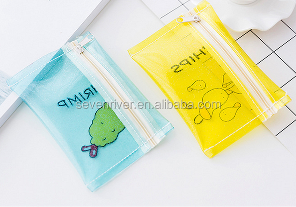 cheap cute print clear pvc wallet zipper bag coin purse for girls