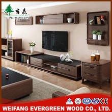 New design wooden led tv stand furniture with showcase
