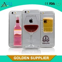 2015 Nine States 3D Fantastic Plastic free flowing liquid hard cover red wine cup design Hard Case for Apple iPhone 4 5 5s 6