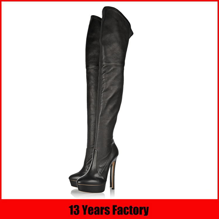 wholesale no lace platform high heel leather knee high italian woman sexy winter latex boots