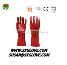 CHEMICAL RISK RED PVC COATED GLOVE EN388 4121