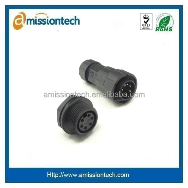 M12 plastic panel mount connector with dust cap