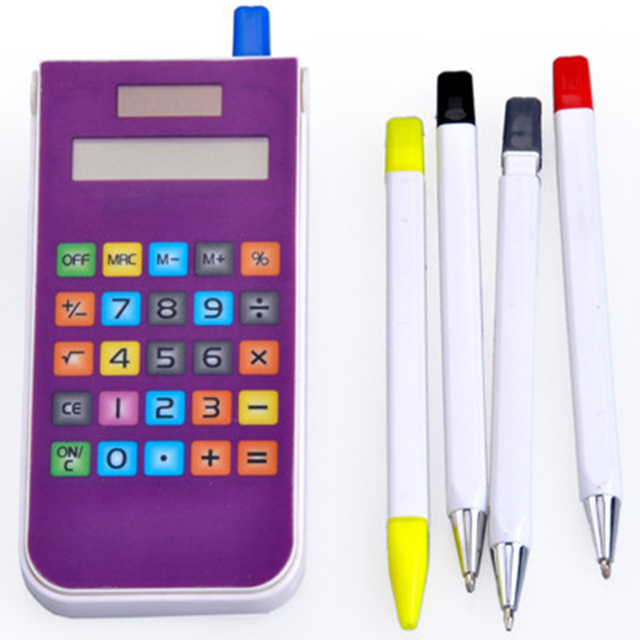 hot selling solar iphone shape calculator with pen set