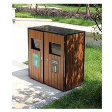 Arlau street wooden waste bin 2 compartments,cheap recycled functions dustbin for sale,wood waste bins