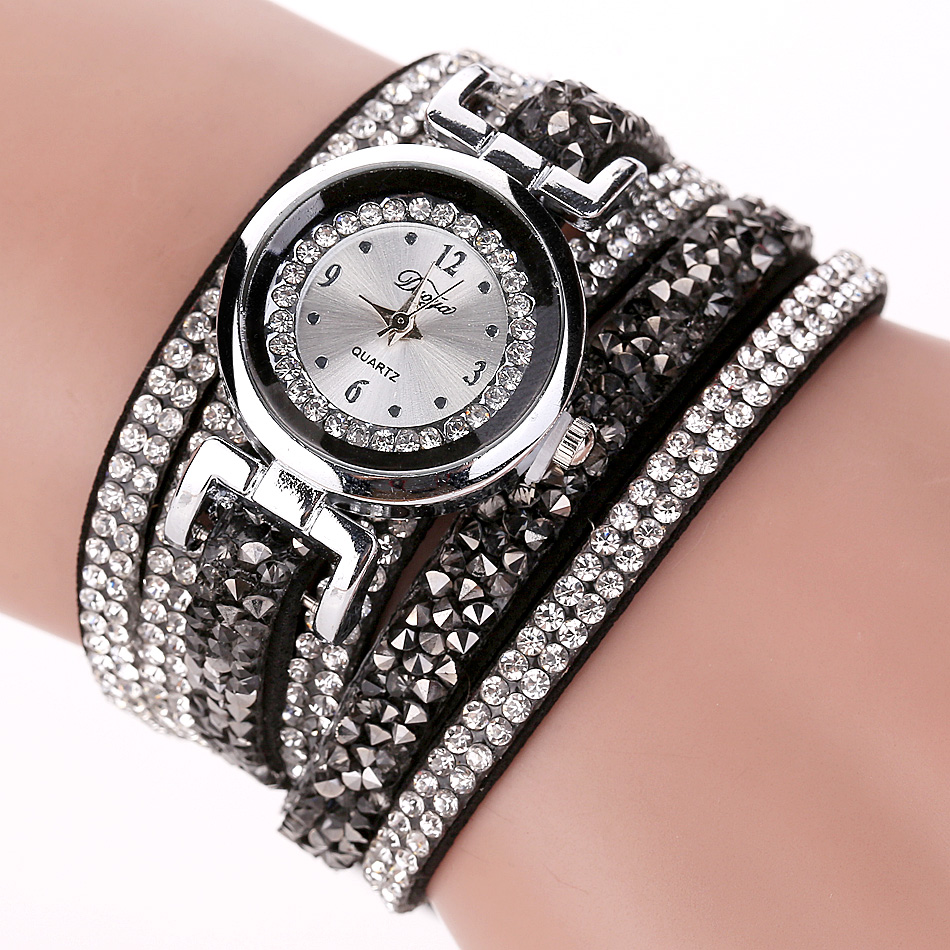 Duoya Brand Fashion Women Dress Watch Women Luxury Silver Crystal Leather Wristwatch Ladies Classic Bracelet Quartz Watch