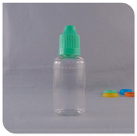 Small e juice childproof dropper pet clear plastic bottle
