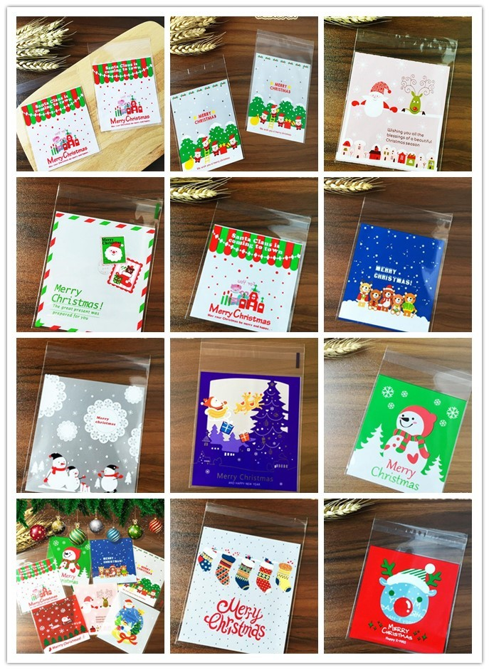 Various Styles Christmas Santa Claus moose Snowman self-adhesive Cookie packaging bags for biscuits snack christmas decoration