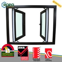 Customized Color UPVC Plastic French Casement Glass Window Design