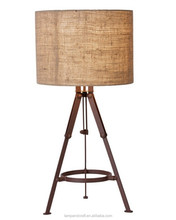 wholesale wood product mass production timber tripod table lamp with linen cylinder lampshade popular among home and abroad SAA