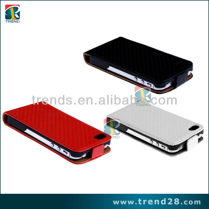 Newest Red/Black/White Carbon fiber hot setting PU leather case for Iphone 5