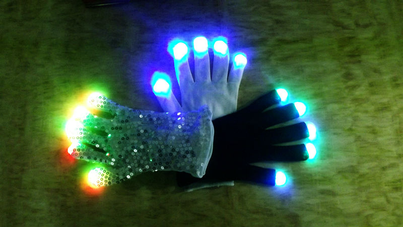 led rainbow light up finger gloves / led lighting gloves