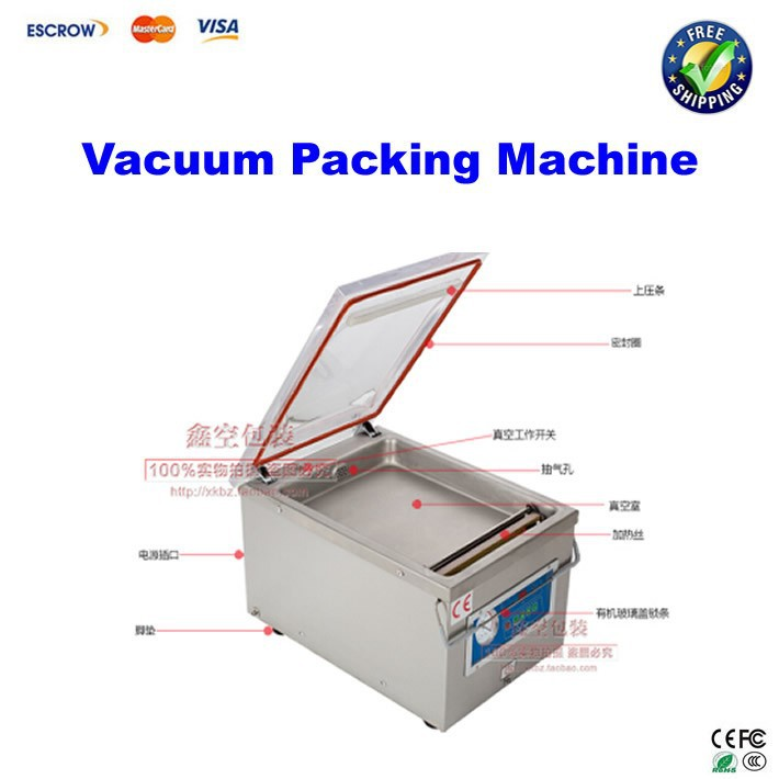 Free shipping!! Desktop vacuum packing machine DZ260 for plastic bag / food sealing macine