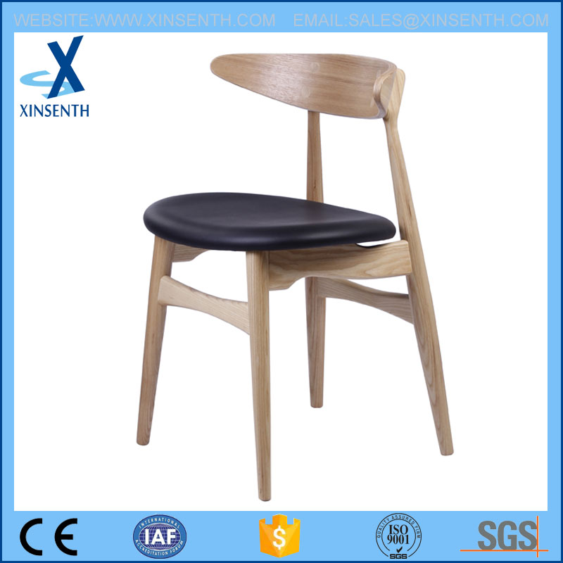 solid wood dining chair with PU cloth seat