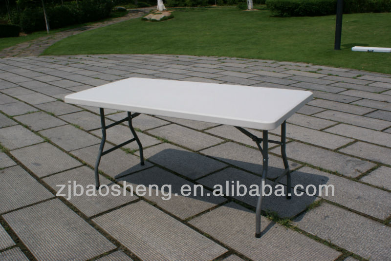 5FT white plastic rectangle folding table, blow mould furniture for outdoor,banquet,camping
