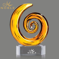 Arabic Spiral Crystal Craft Wholesale Hand Blown Glass Ornaments as Modern Home Decor