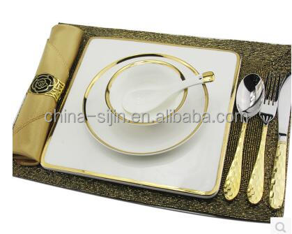 Hot selling European Luxurious tableware high quality ceramic plate with golden edge