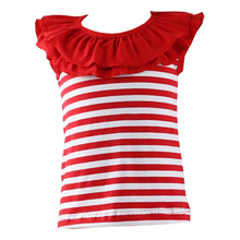 Wholesale hot sale girls ruffle collar stripe comfortable unique baby tank top