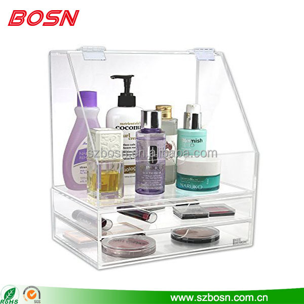 High quality clear acrylic cosmetic display rack lucite makeup organizer countertop case