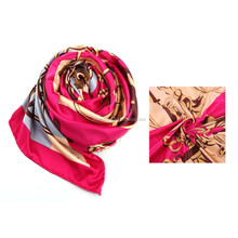 Chinese Silk Square Scarf Colorful Flower Pattern Scarf