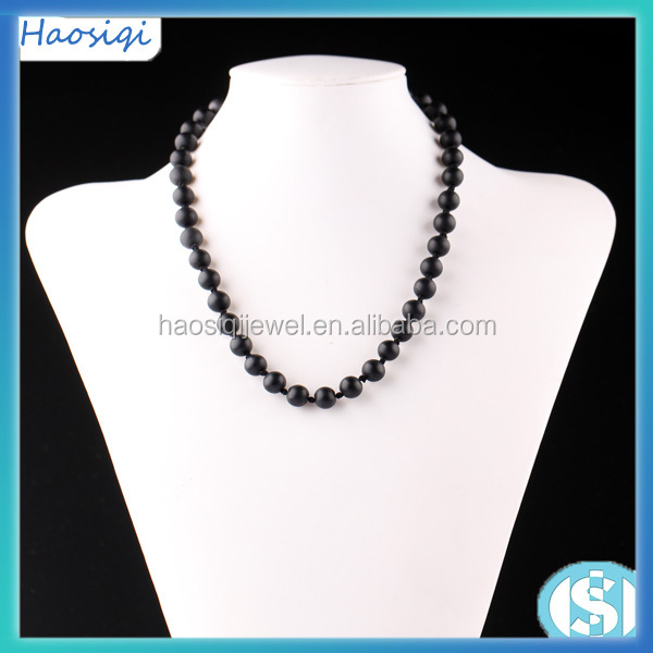 lastest design black matte beads necklace jewelries for women and men