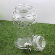 Square glass mason jar drinking lemonade with glass lid with ABS tap
