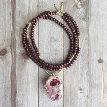 N16042205 Long Boho Beaded Necklace With Druzy Agate Pendant