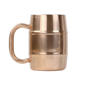 double wall copper plating barrel shaped stainless steel beer mug
