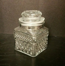 Vintage Clear Glass Canisters With Lids Diamond Cut Design Apothecary Jars KIG